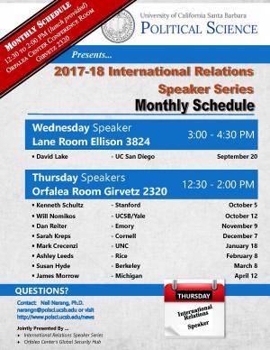 Monthly schedule for IR Speaker Series