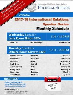 Schedule for International Speaker Series (January 18, February 8, March 1, April 12 in 2320 Girvetz)