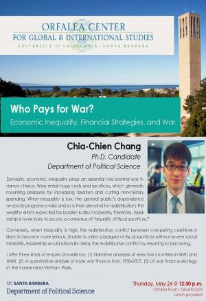 Flyer for Chia-Chien Chang talk on Thursday May 24 at 12:30 in Girvetz 2320
